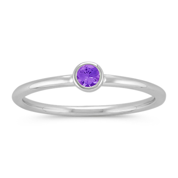 Round Lavender Sapphire Stackable Ring in 14k White Gold