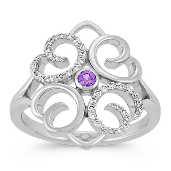 Round Lavender Sapphire and Diamond Sterling Silver Ring