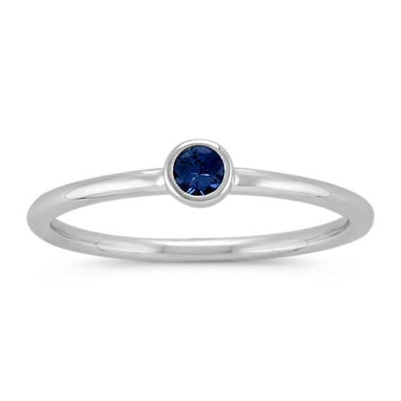 Round Midnight Blue Sapphire Stackable Ring
