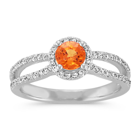Round Orange Sapphire and Round Diamond Split Shank Ring