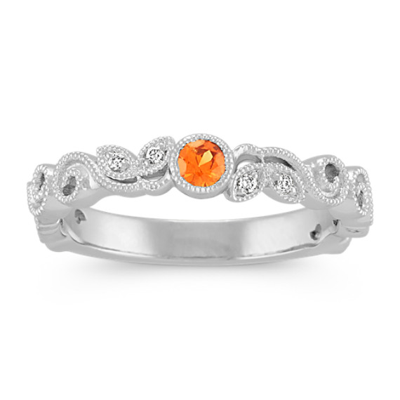 Round Orange Sapphire and Round Diamond Vintage Stackable Ring