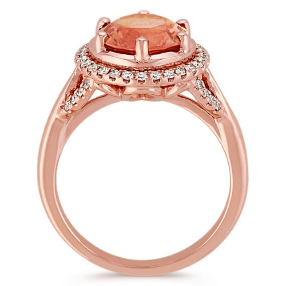 Round Oregon Sunstone and Round Diamond 14k Rose Gold Ring image