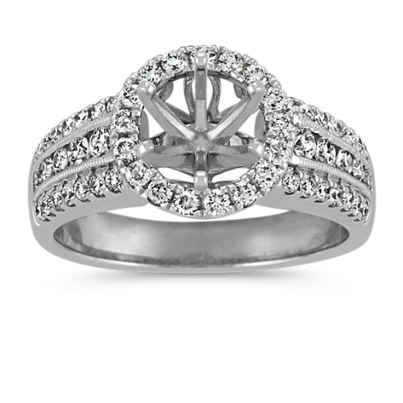 Round Pave Set Diamond Halo Engagement Ring in 14k White Gold