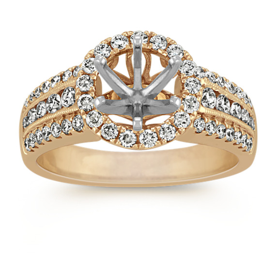 Round Pave Set Diamond Halo Engagement Ring in 14k Yellow Gold