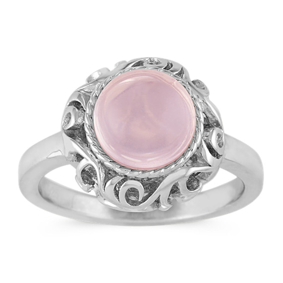 Round Pink Quartz Ring in Sterling Silver