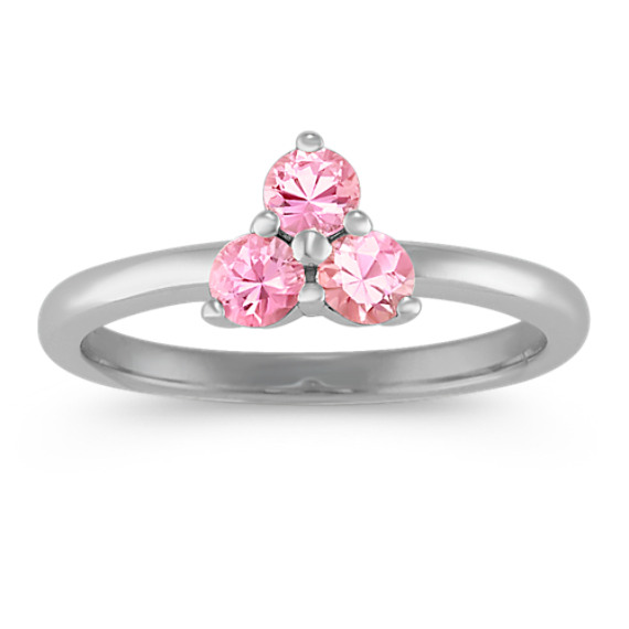 Round Pink Sapphire Ring in Sterling Silver