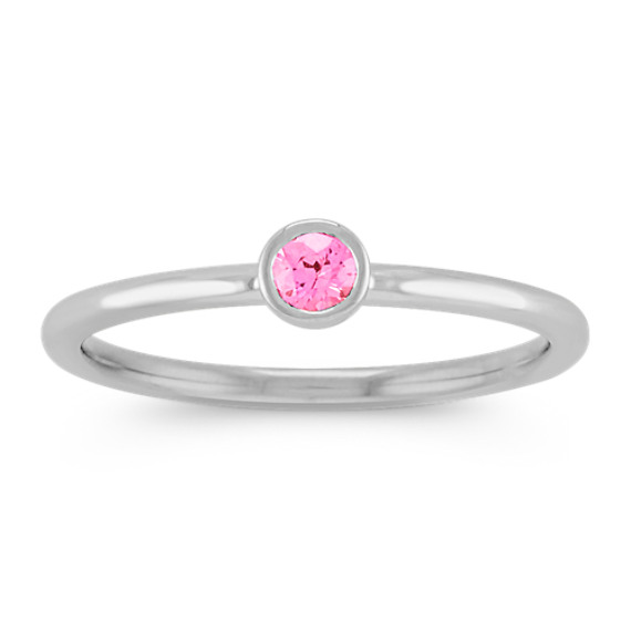 Round Pink Sapphire Stackable Ring in 14k White Gold