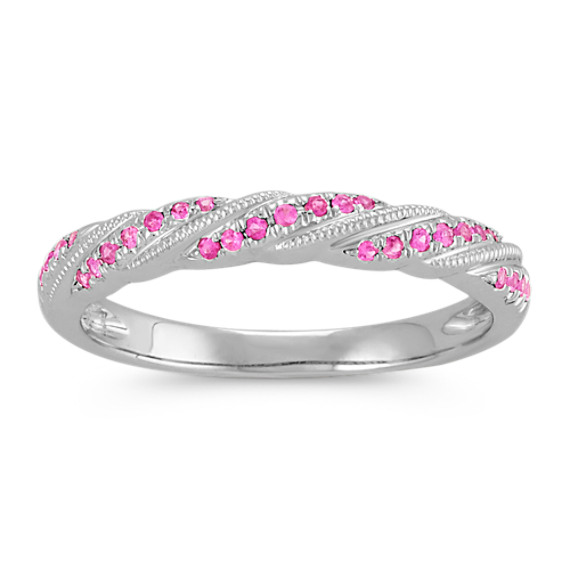 Round Pink Sapphire Stackable Ring