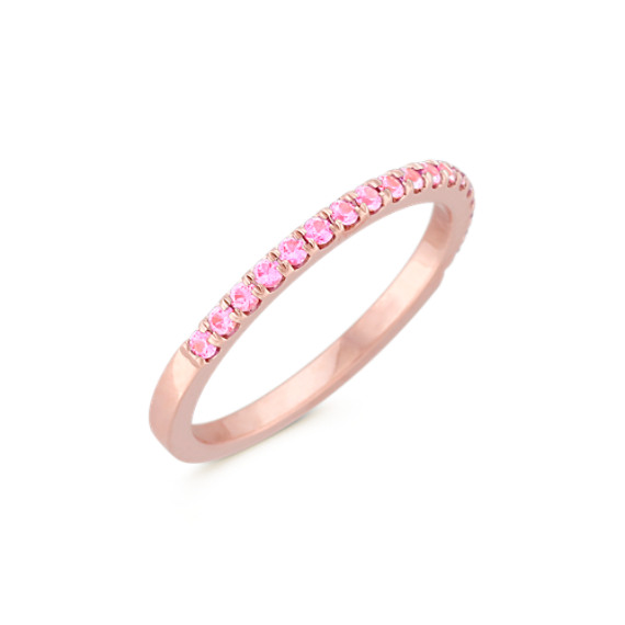 Round Pink Sapphire Wedding Band in Rose Gold Shane Co