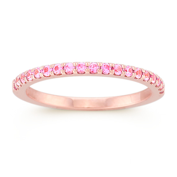 Round pink sapphire wedding band in rose gold shane co round pink sapphire wedding band in rose gold junglespirit Choice Image