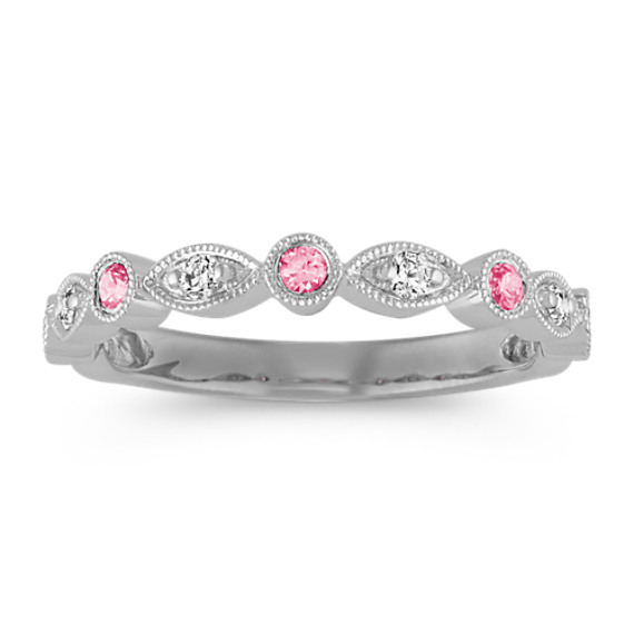 Round Pink Sapphire and Diamond Vintage Wedding Band in 14k White Gold