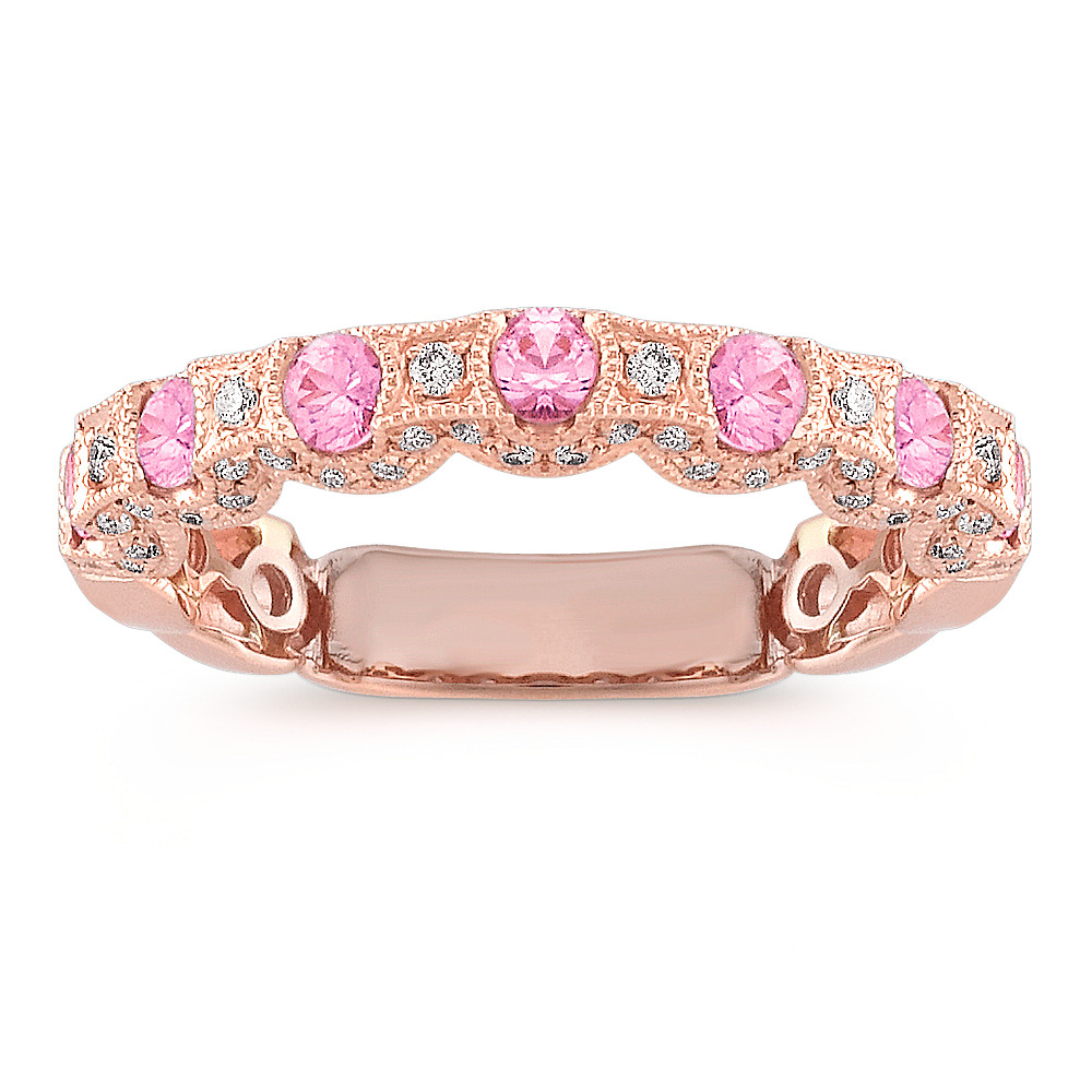 Round Pink Sapphire and Diamond Wedding Band in Rose Gold | Shane Co.