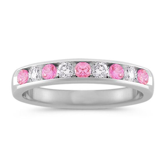 Round Pink Sapphire and Diamond Wedding Band