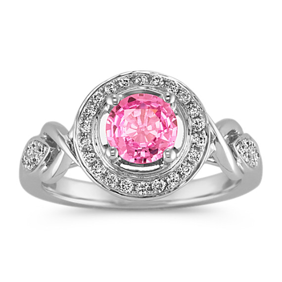 Round Pink Sapphire and Round Diamond Ring