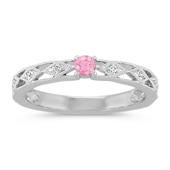Round Pink Sapphire and Round Diamond Stackable Ring