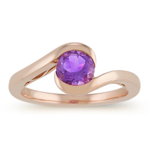 Round Purple Amethyst Ring in 14k Rose Gold