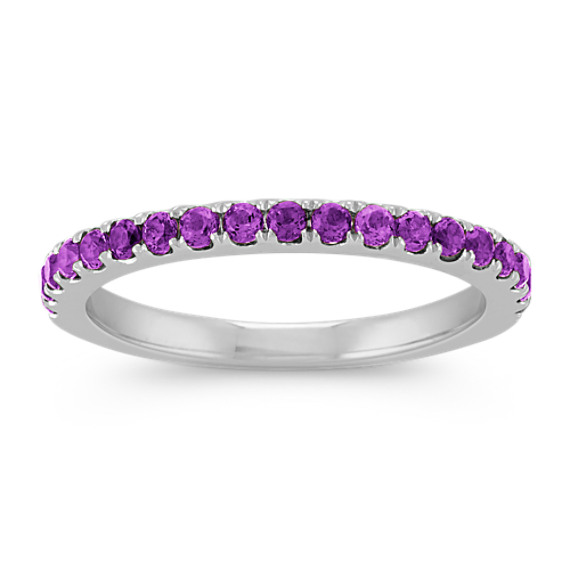 Round Purple Amethyst Stackable Ring