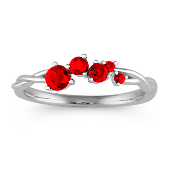 Stackable Ruby Ring in 14k White Gold