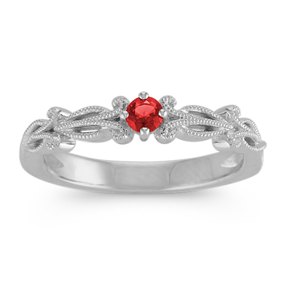 Round Ruby Sterling Silver Stackable Ring