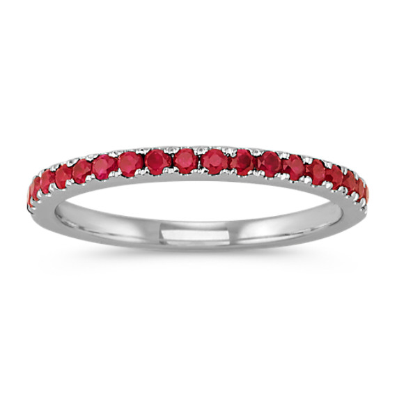 Round Ruby Wedding Band in 14k White Gold