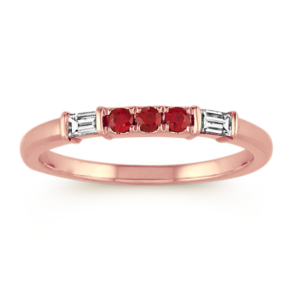Round Ruby and Baguette Diamond Ring in 14k Rose Gold