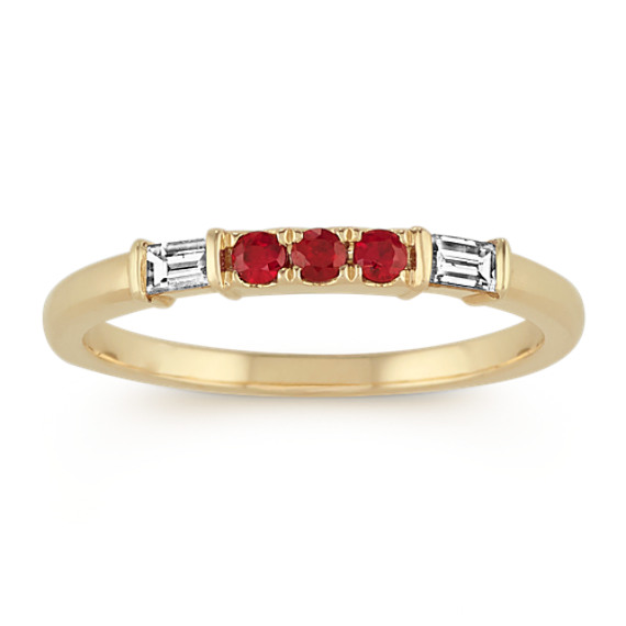 Round Ruby and Baguette Diamond Ring in 14k Yellow Gold