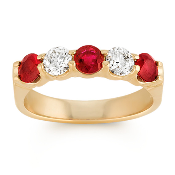 Round Ruby and Diamond Classic Ring in 14k Yellow Gold