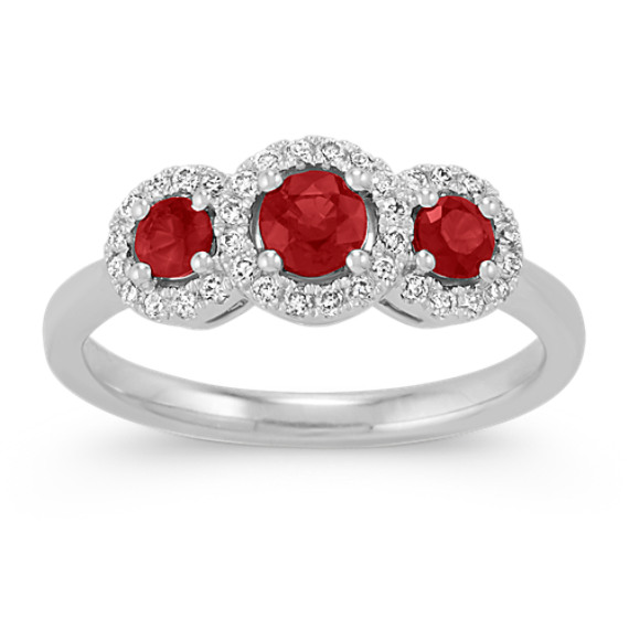 Round Ruby and Diamond Halo Ring in 14k White Gold