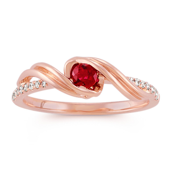 Round Ruby and Diamond Ring in 14k Rose Gold