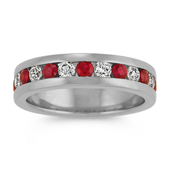 Round Ruby and Diamond Ring in 14k White Gold