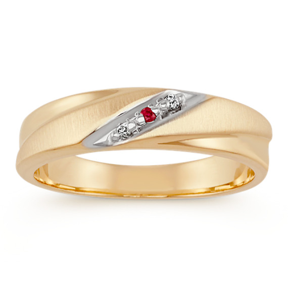 Round Ruby and Diamond Ring in 14k Yellow Gold (6mm)