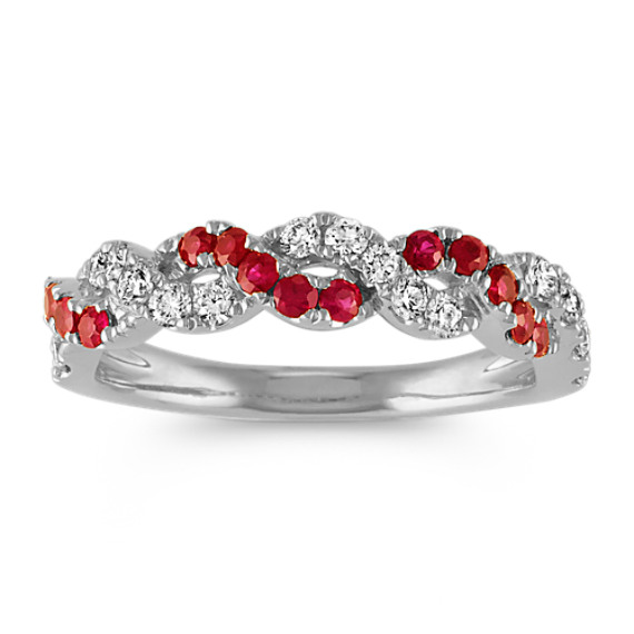 Round Ruby and Diamond Swirl Ring in 14k White Gold