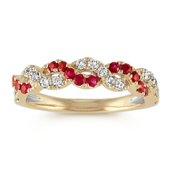 Round Ruby and Diamond Swirl Ring in 14k Yellow Gold