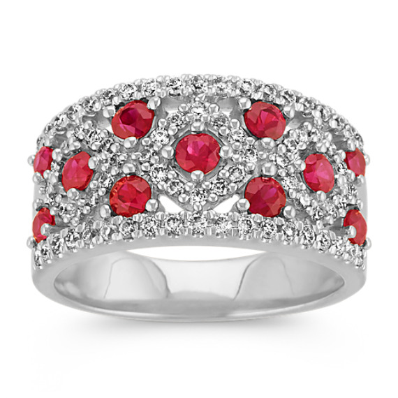 Round Ruby and Round Diamond Classic Ring in 14k White Gold