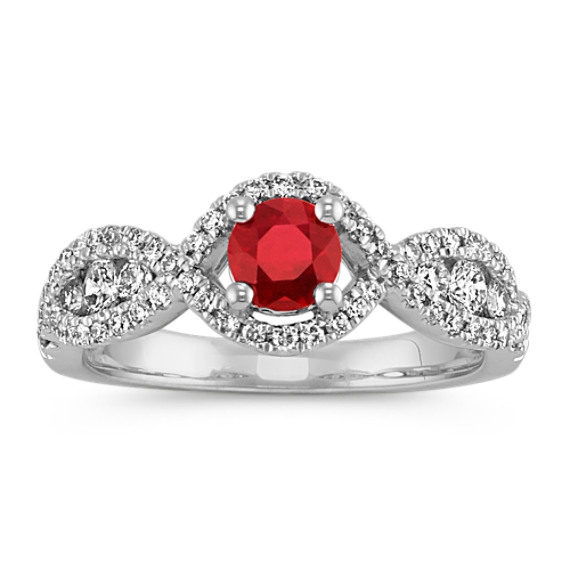 Round Ruby and Round Diamond Infinity Ring