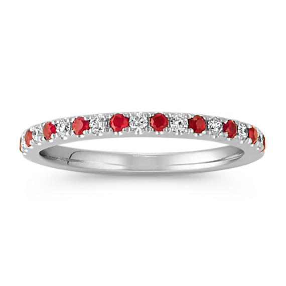 Round Ruby and Round Diamond Wedding Band in 14k White Gold