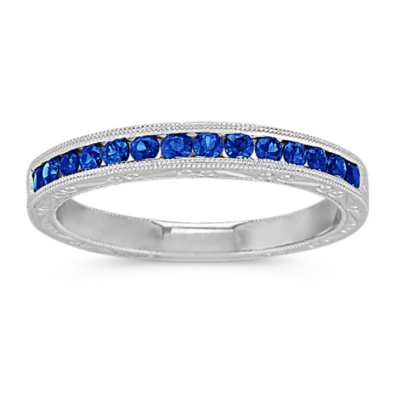 Round Sapphire Wedding Band with Channel-Setting