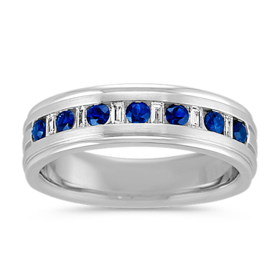 Round Sapphire and Baguette Diamond Mens Ring (6mm)