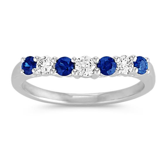 Round Sapphire and Diamond Contour Wedding Band
