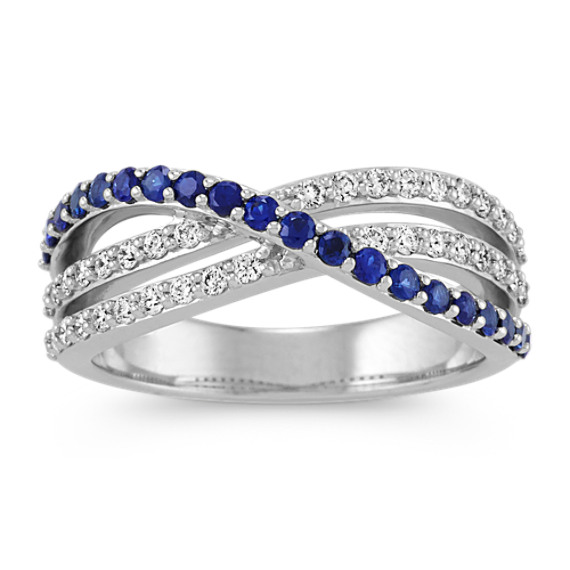 Round Sapphire and Diamond Crossover Ring in 14k White Gold
