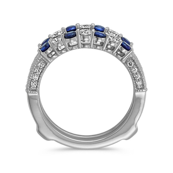 Round Sapphire and Diamond Ring Guard in 14k White Gold image