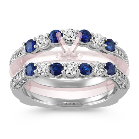 Round Sapphire and Diamond Ring Guard in 14k White Gold