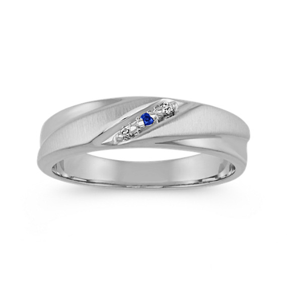 Round Sapphire and Diamond Ring in 14k White Gold (6 mm)