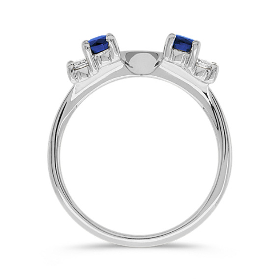 Round Sapphire and Diamond Solitaire Engagement Ring Wrap image