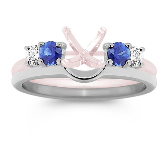 Round Sapphire and Diamond Solitaire Engagement Ring Wrap