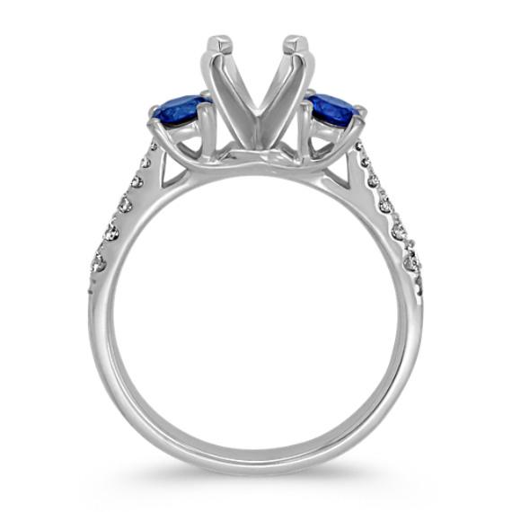 Round Sapphire and Diamond Three-Stone Engagement Ring in 14k White Gold image