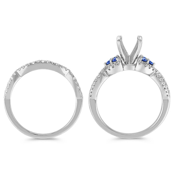 Round Sapphire and Diamond Wedding Set with Pave Setting image