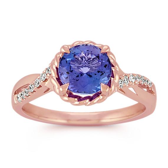 Round Tanzanite and Diamond Swirl Ring in Rose Gold
