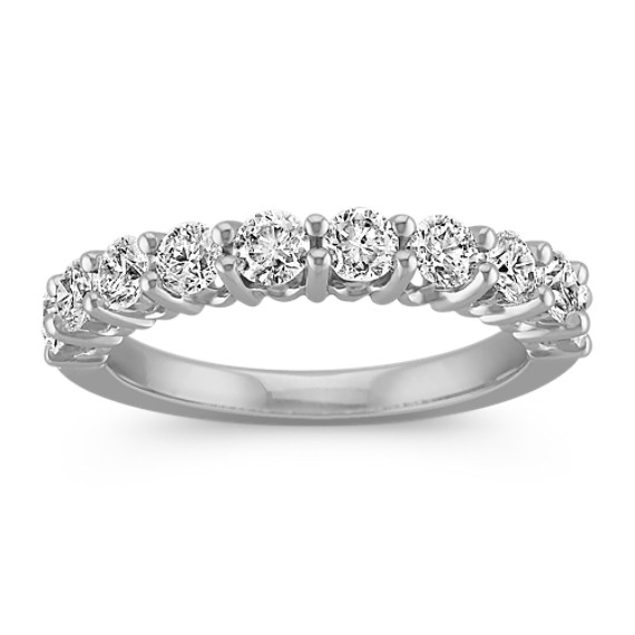 Round Ten-Stone Diamond Platinum Wedding Band
