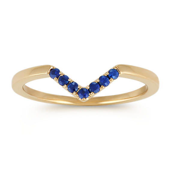 Round Traditional Sapphire 14k Yellow Gold V Ring